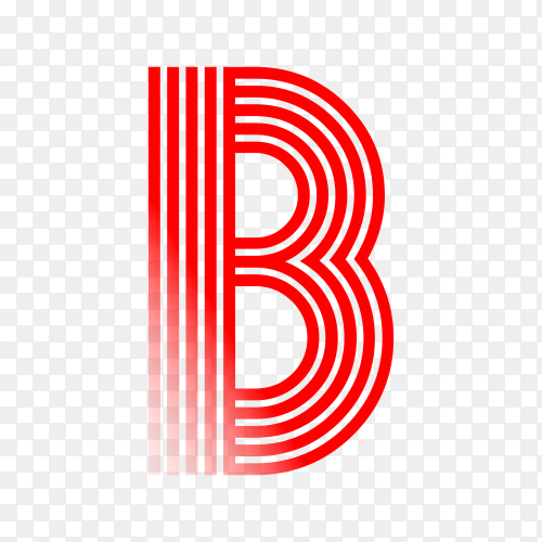 Red letter B isolated on transparent background PNG