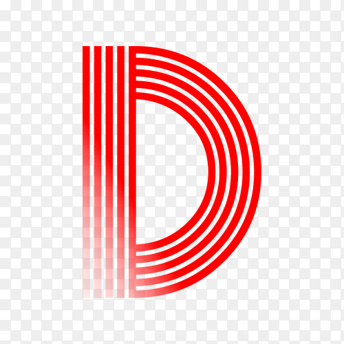 Red letter D isolated on transparent background PNG