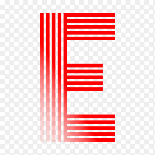 Red letter E isolated on transparent background PNG
