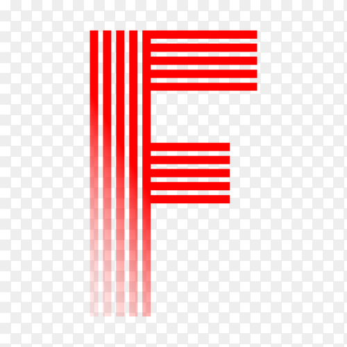 Red letter F isolated on transparent background PNG