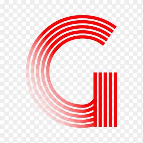 Red letter G isolated on transparent background PNG