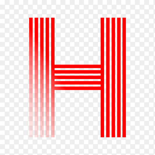 Red letter H isolated on transparent background PNG