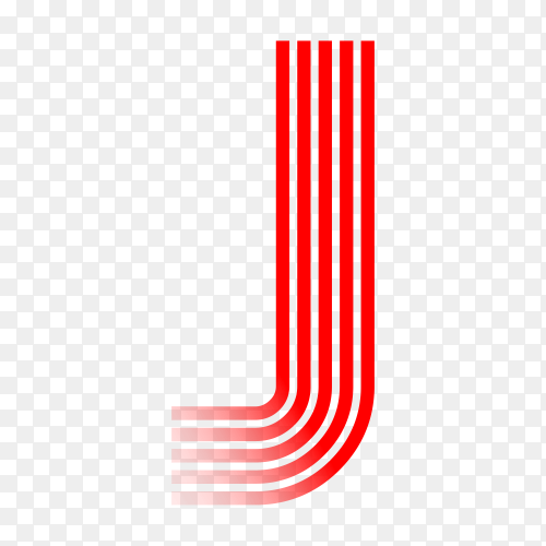 Red letter J isolated on transparent background PNG