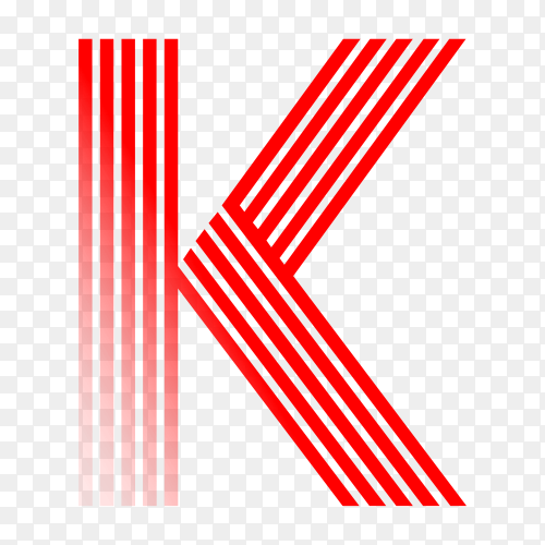 Red letter K isolated on transparent background PNG