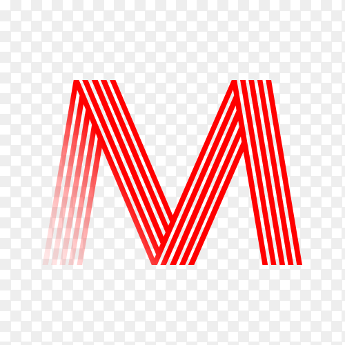Red letter M isolated on transparent background PNG