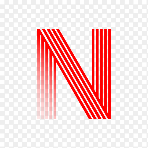 Red letter N isolated on transparent background PNG