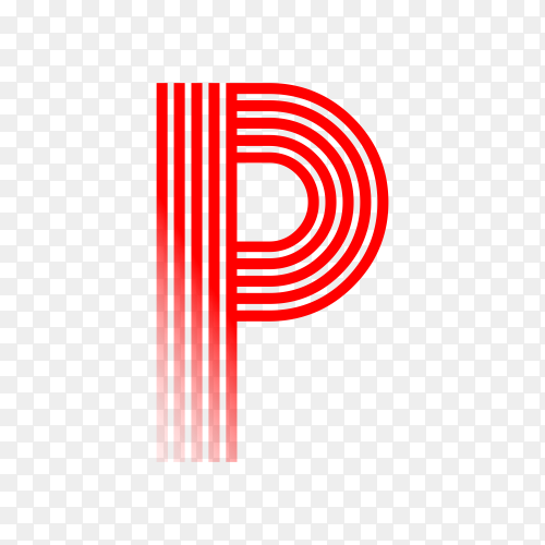 Red letter P isolated on transparent background PNG