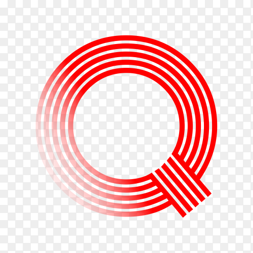 Red letter Q isolated on transparent background PNG