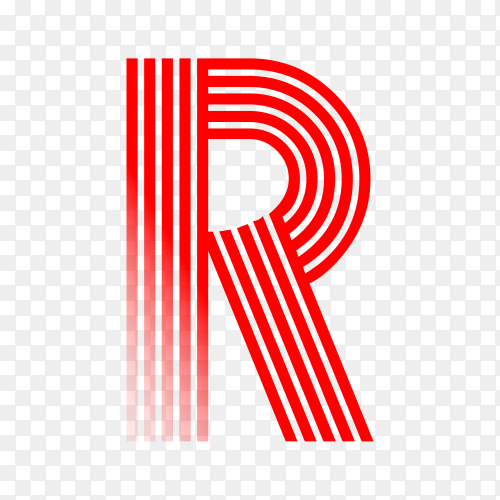 Red letter R isolated on transparent background PNG