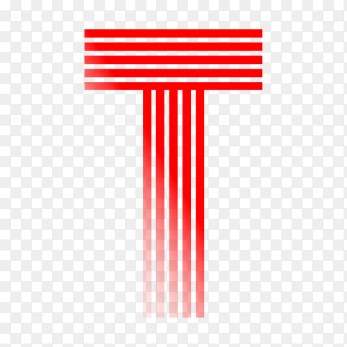 Red letter T isolated on transparent background PNG