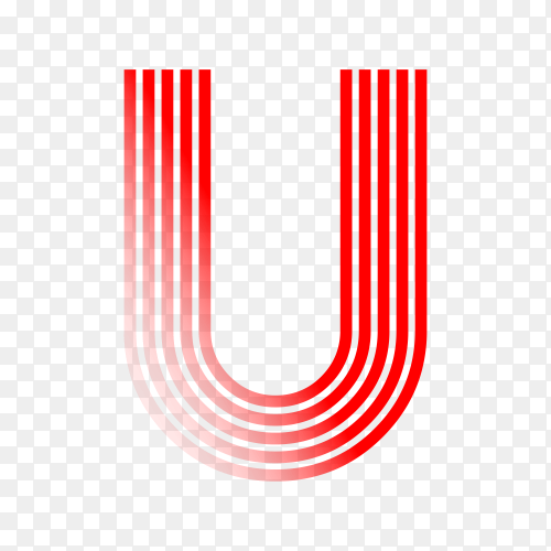 Red letter U isolated on transparent background PNG