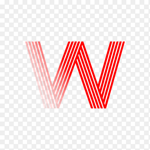 Red letter W isolated on transparent background PNG