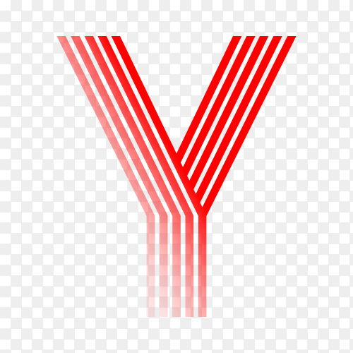 Red letter Y isolated on transparent background PNG