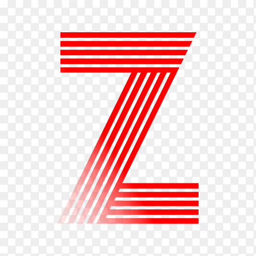 Red letter Z isolated on transparent background PNG
