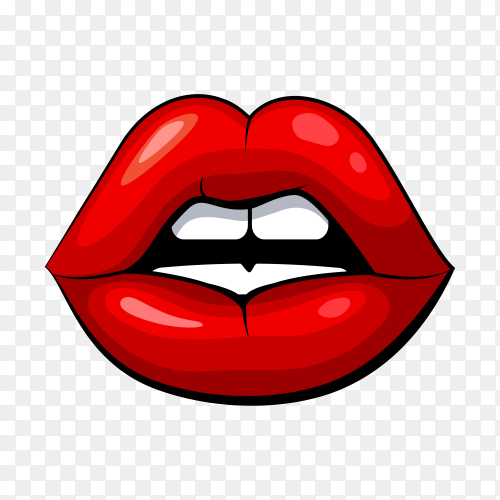 Red lips and white teeth on transparent background PNG