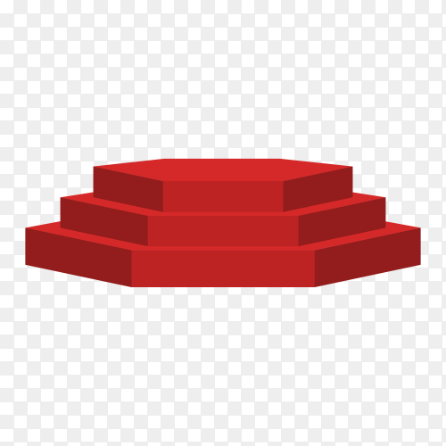 Red podium. round and square 3d empty podium with steps on transparent background PNG