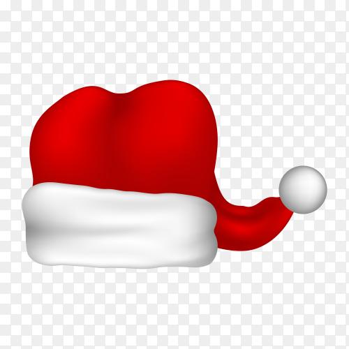 Red Santa hat illustration on transparent background PNG