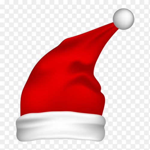 Red Santa hat on transparent background PNG