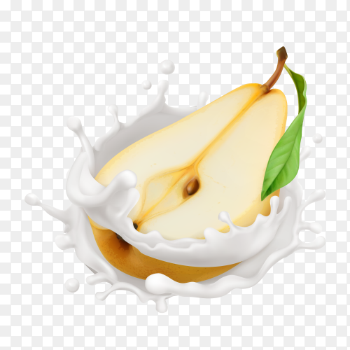 Ripe yellow pear in a milk splash on transparent background PNG