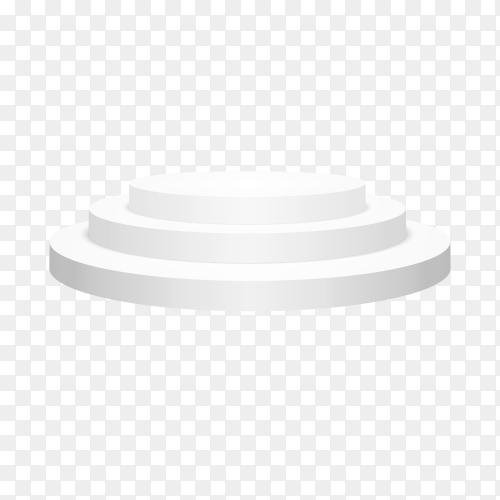 Round white podium illustration on transparent background PNG