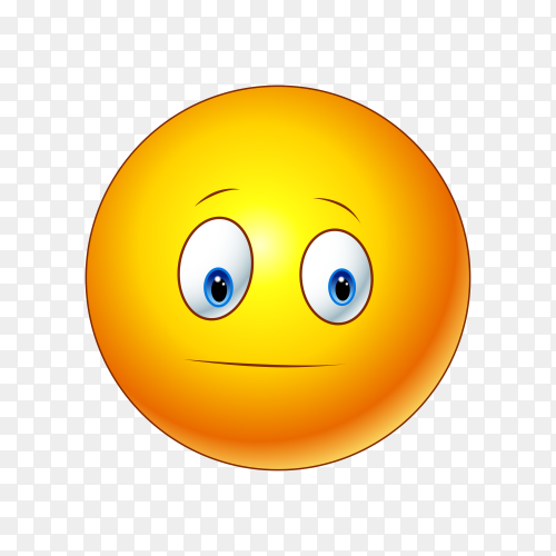 Sad emoji face with open eyes on transparent background PNG