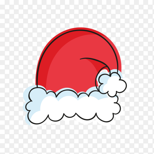 Santa's hat in flat design illustration on transparent PNG
