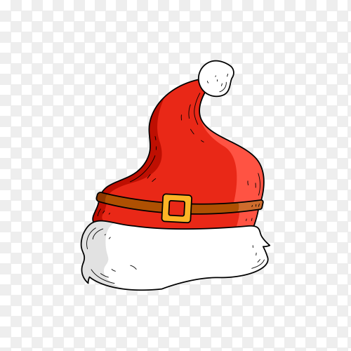 Santa's hat in flat design on transparent PNG