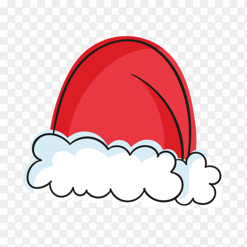 Santa's hat in flat design on transparent background PNG
