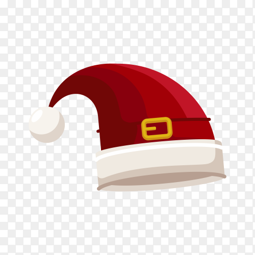 Santa Claus cartoon red hat in flat design on transparent background PNG