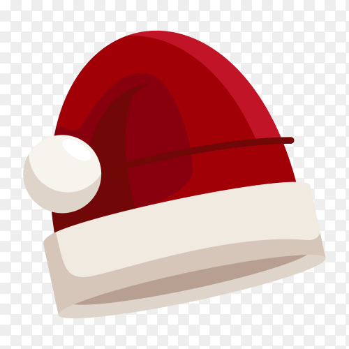 Santa Claus cartoon red hat isolated on transparent PNG