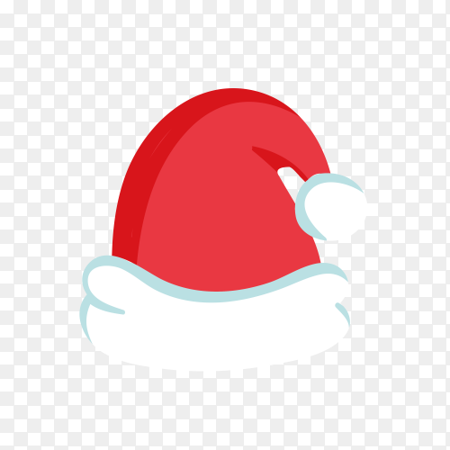 Santa Claus hat in red Color on transparent PNG