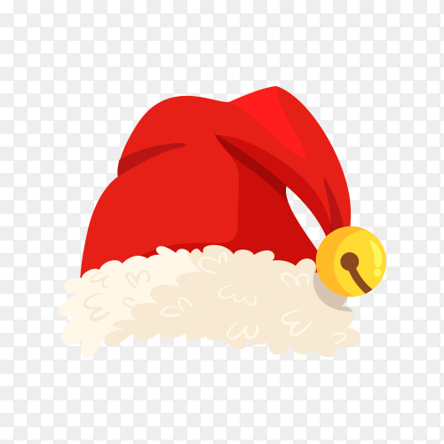 Santa Claus hat in red Color on transparent background PNG