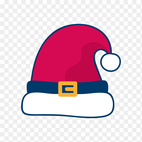 Santa Claus red had design on transparent background PNG