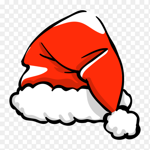 Santa Claus cartoon hat illustration on transparent background PNG