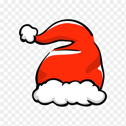 Santa Claus cartoon hat on transparent PNG