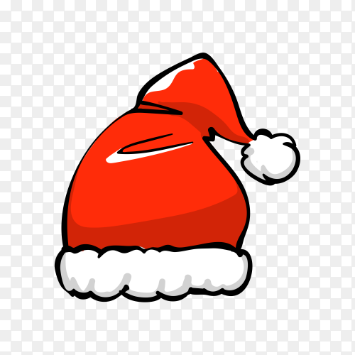 Santa Claus cartoon hat on transparent background PNG