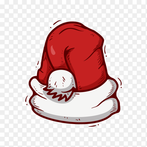 Santa claus hat in flat design on transparent PNG