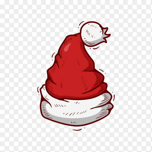 Santa Claus hat in flat design vector PNG