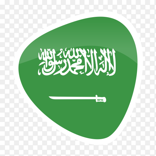 Saudi Arabia flag icon on transparent background PNG