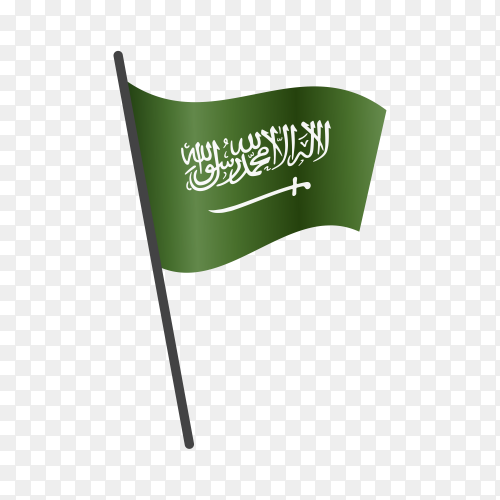 Saudi Arabia flag isolated on transparent background PNG