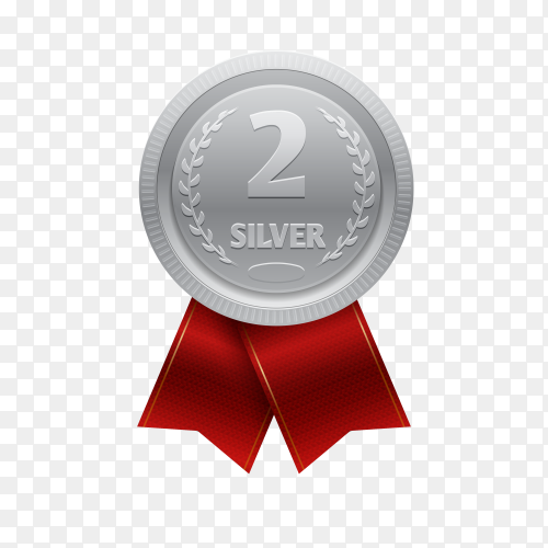 Silver medal with red ribbon for second place on transparent background PNG