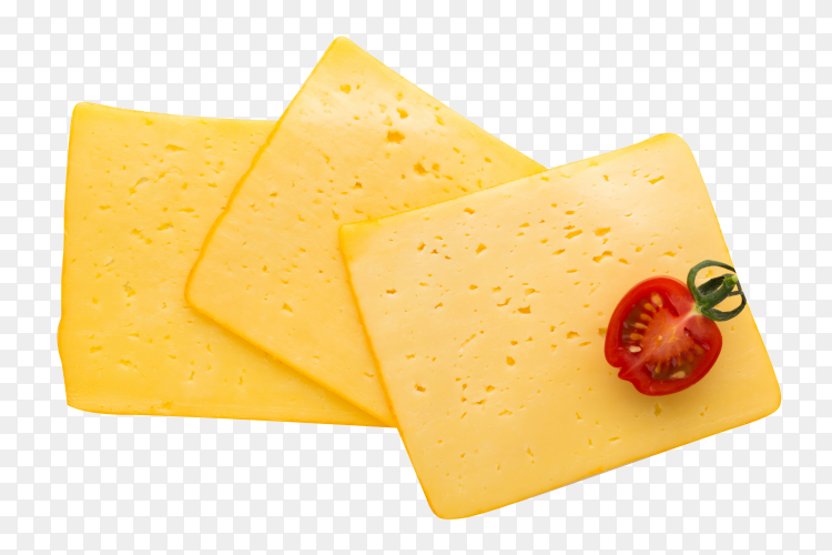 Slices of cheese on transparent background PNG