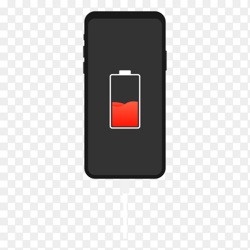 Smartphone on charging illustration on transparent background PNG