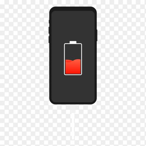 Smartphone on charging illustration on transparent background PNG
