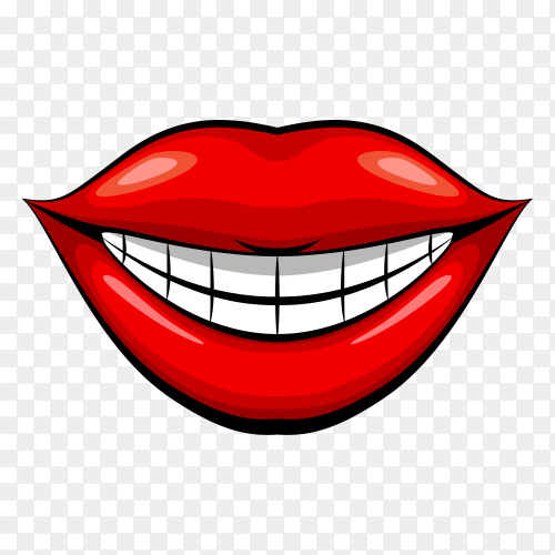 Smile Red female lips and white teeth on transparent background PNG