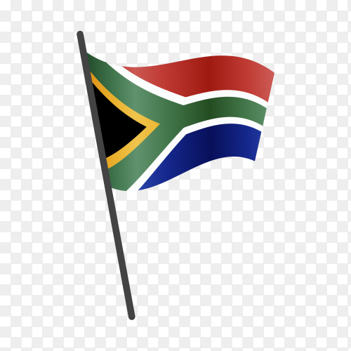 South Africa flag waving on a flagpole on transparent background PNG