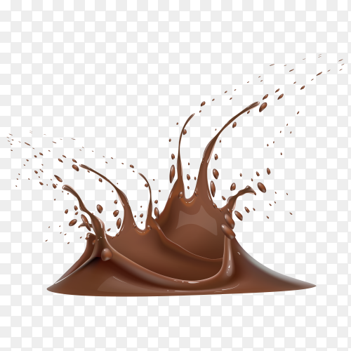 Splash and whirl chocolate liquid on transparent background PNG