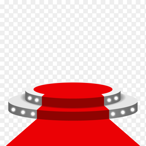 Stage podium illuminated with red carpet on transparent background PNG