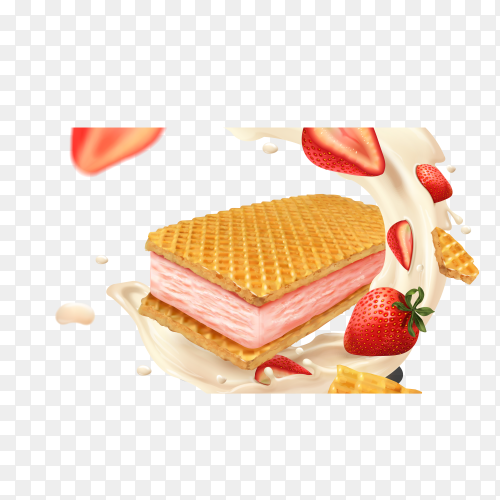 Strawberry cream waffles cookies on transparent background PNG