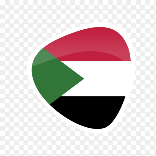 Sudan flag icon on transparent PNG